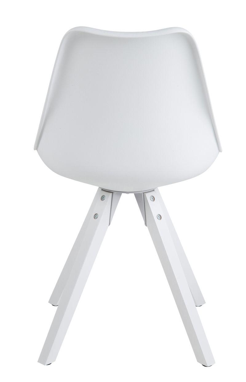 Fryd Spisebordsstol - Hvid Plastik og PU - Ben i hvidmalet træ
