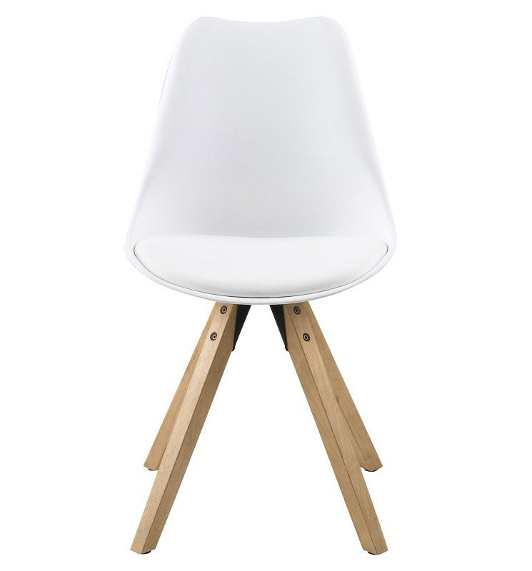 Fryd spisebordsstol - hvid - Ben i bejdset gummitræ
