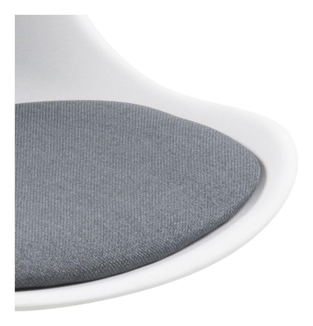 Fryd Spisebordsstol i hvid plast - Hynde i mørkegrå - Spisebordsstol i hvid
