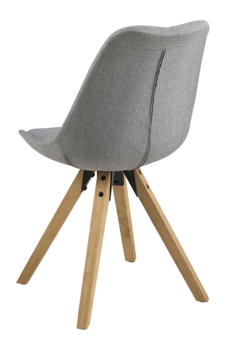 Fryd Spisebordsstol - Lys Grå stof - Spisebordsstol med træben