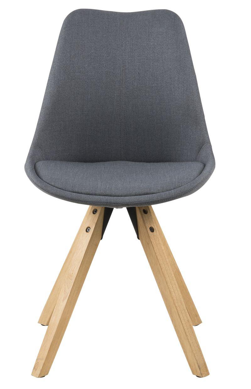Fryd Spisebordsstol - Mørkegrå stof - Skalstol med træben