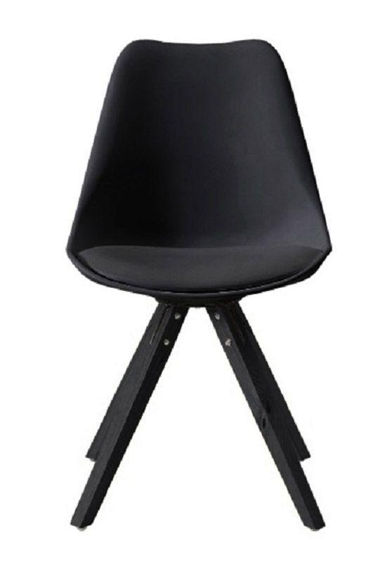 Fryd Spisebordsstol - Sort med sorte ben - Ben i sortmalet træ