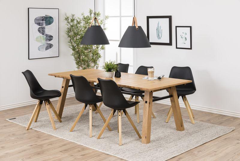 Fryd Spisebordsstol - Sort Plastik og PU - Ben i bejdset gummitræ