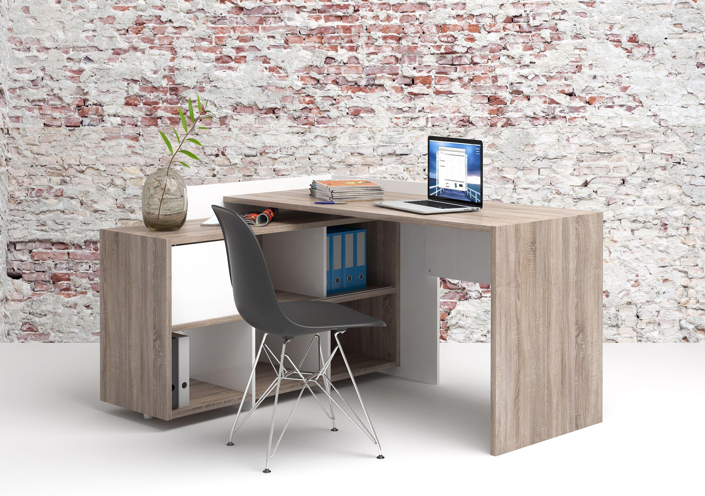 Function Plus Skrivebord - Brun m/reol - Skrivebord