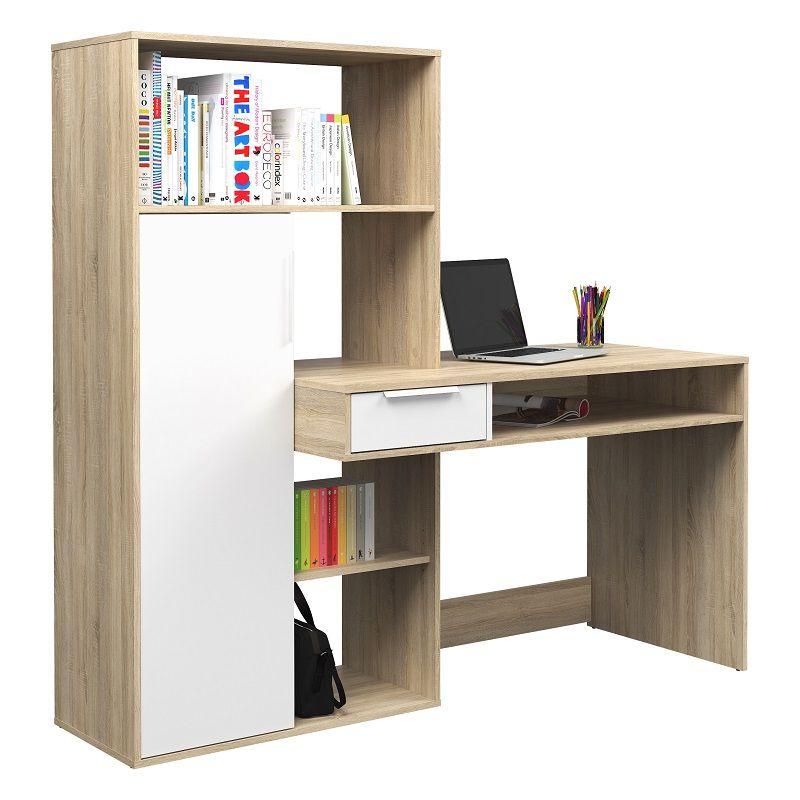 Function Plus Skrivebord - Lys træ m/opbevaring - Skrivebord i lyst træ