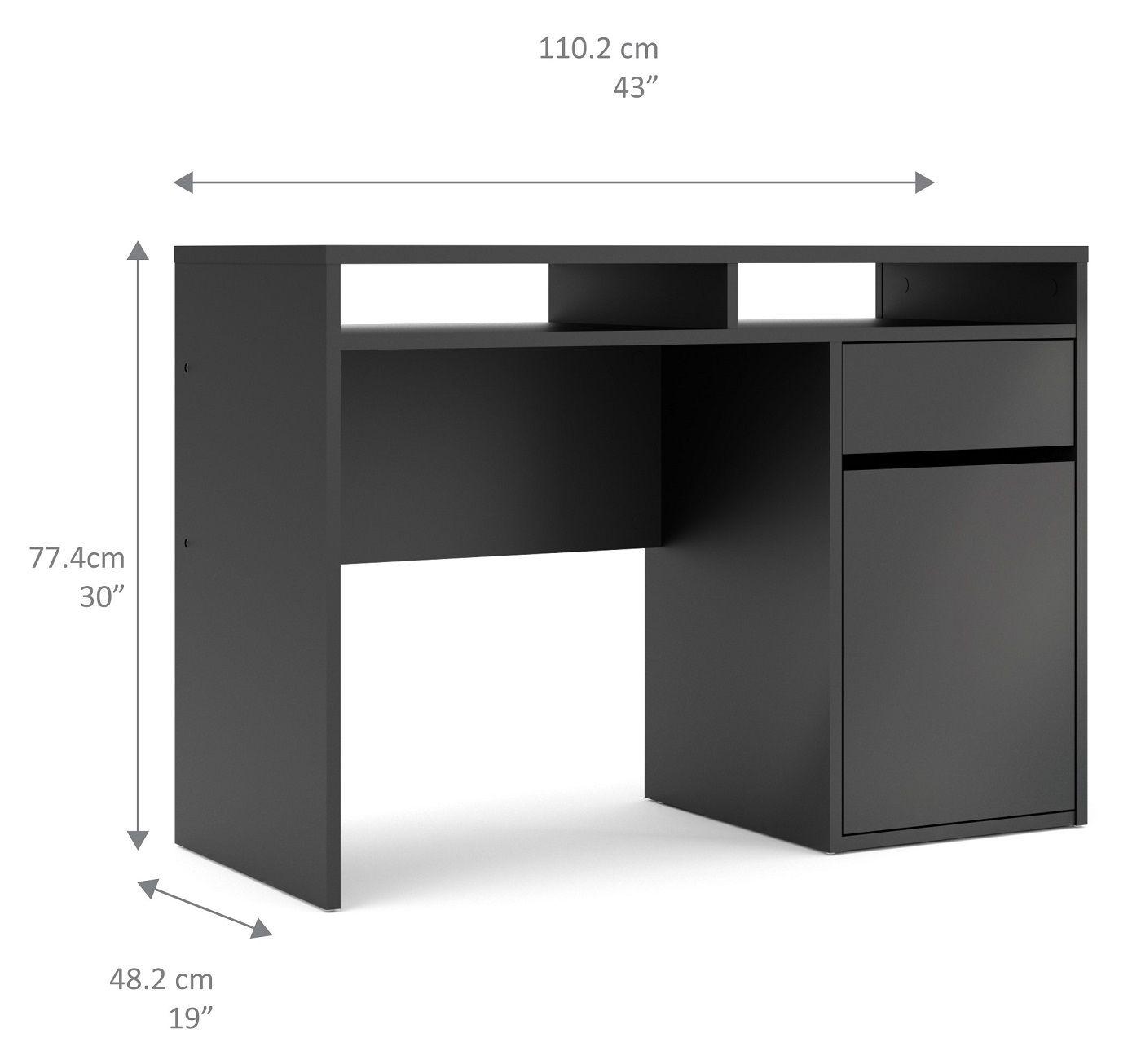 Function Plus Skrivebord m. 1 låge - Mat sort