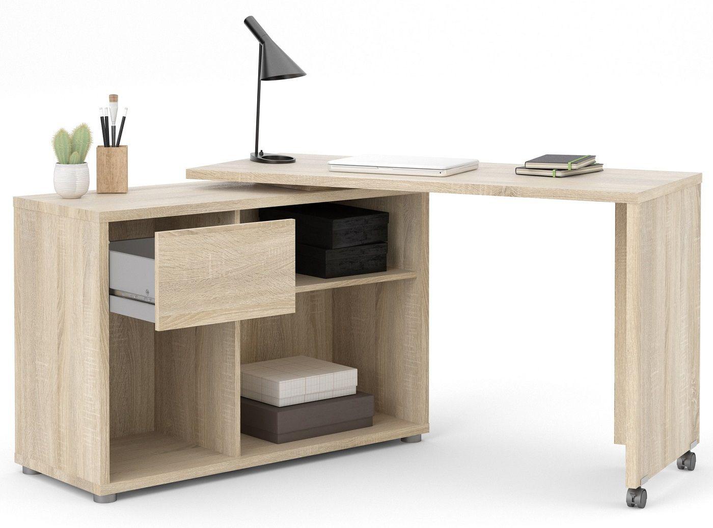 Function Plus Skrivebord m. drejeplade - Ege struktur