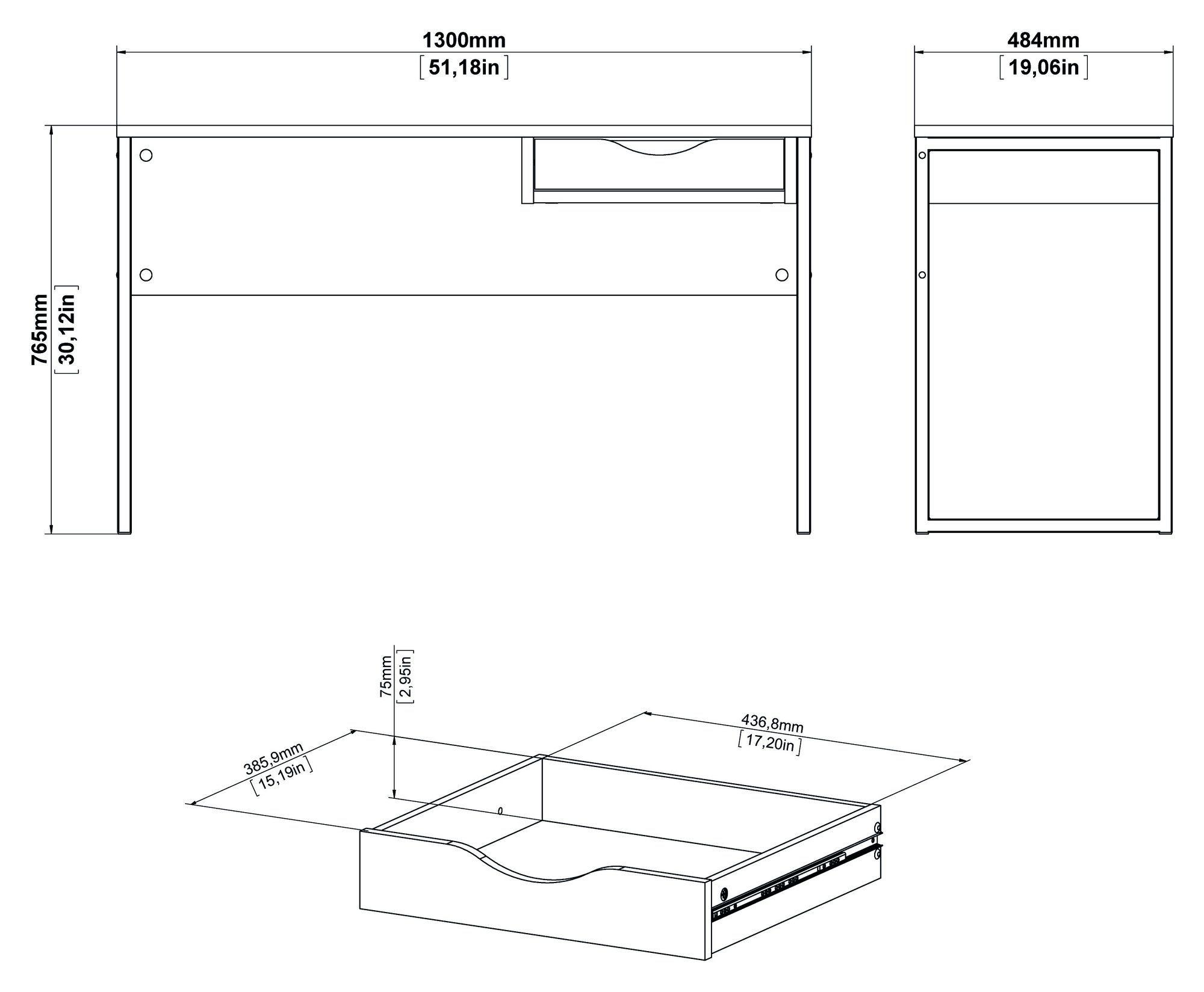 Function Plus Skrivebord - Mat sort, B130