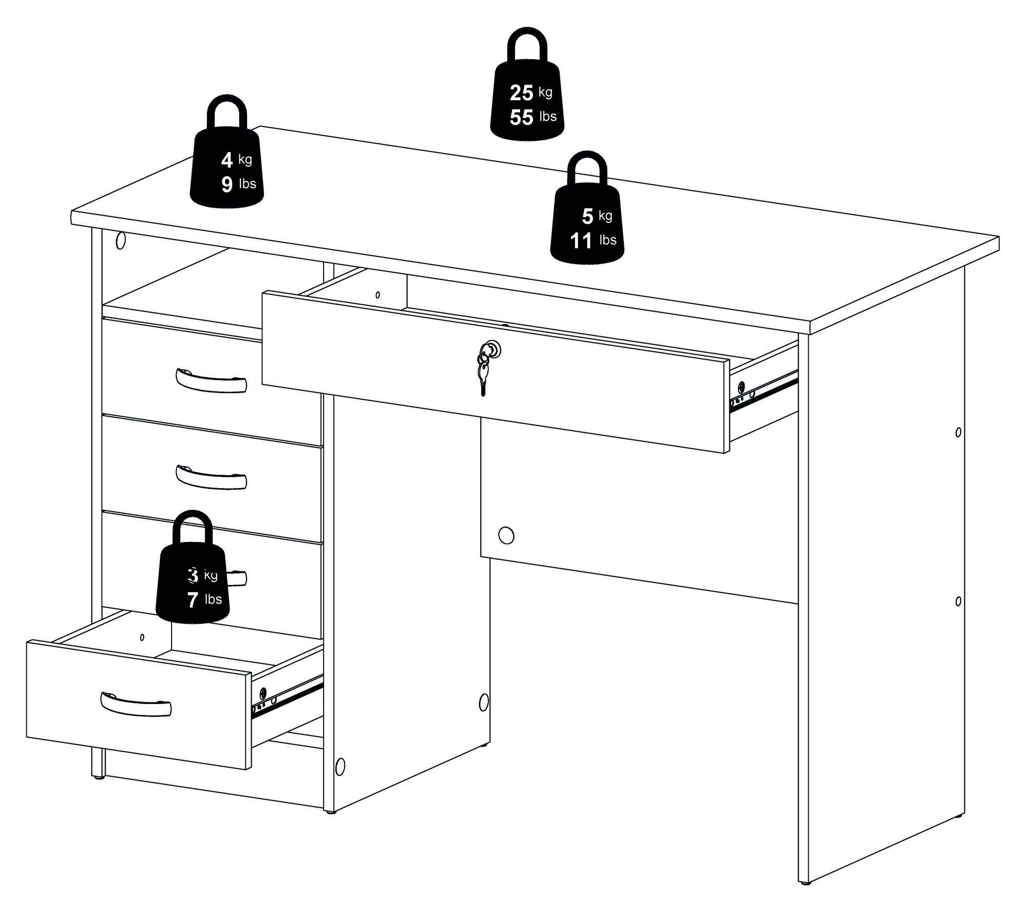 Function Skrivebord - Hvid m/5 skuffer - Hvidt skrivebord med 5 skuffer