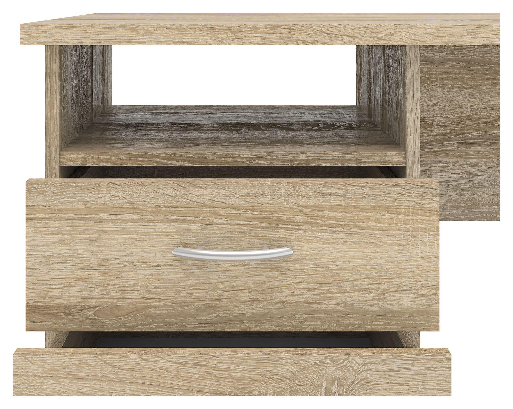Function Skrivebord - Lys træ m/3 skuffer - Skrivebord i egetræs-look