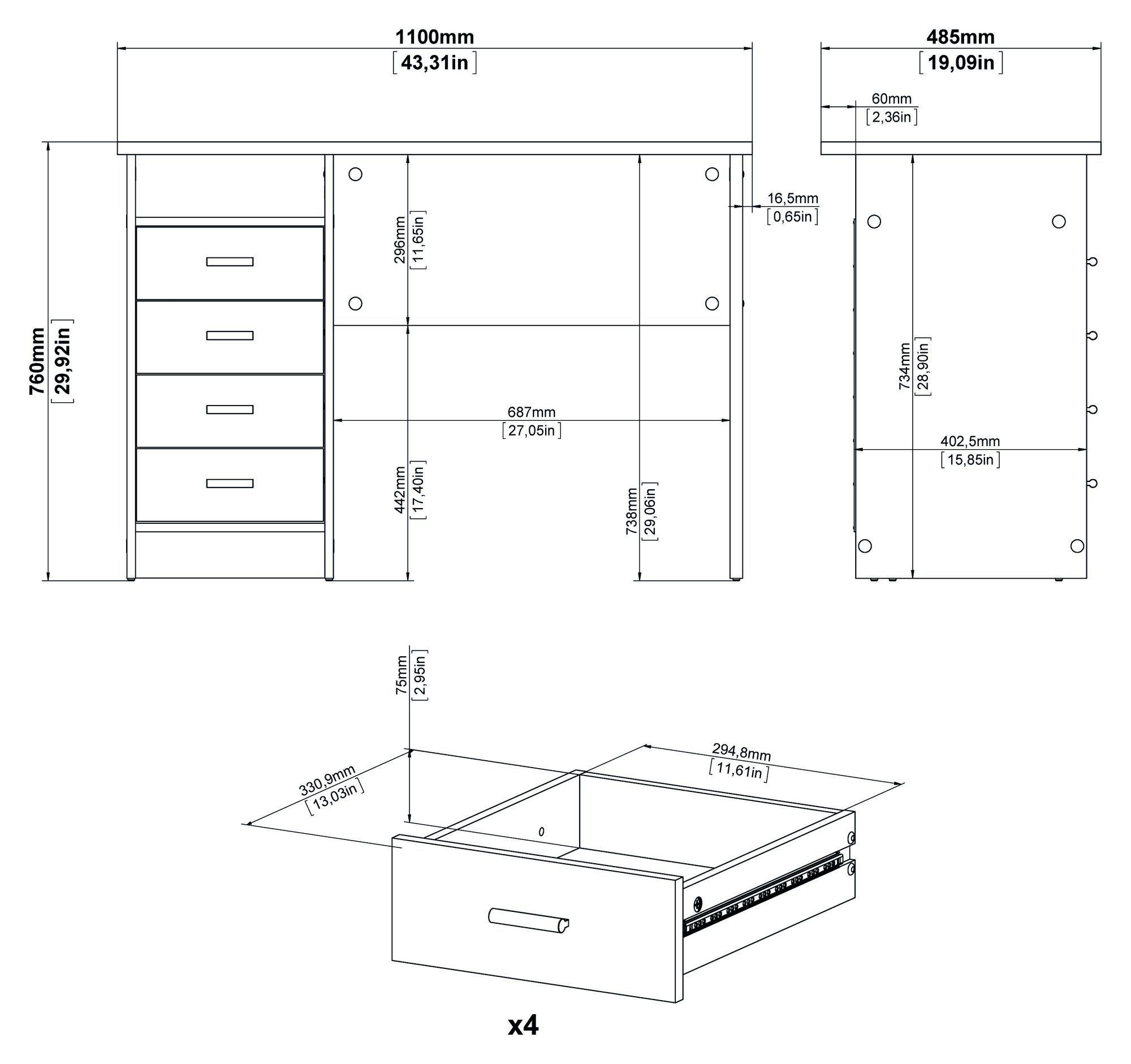 Function Skrivebord - Lys træ - Skrivebord i lyst træ med 4 skuffer