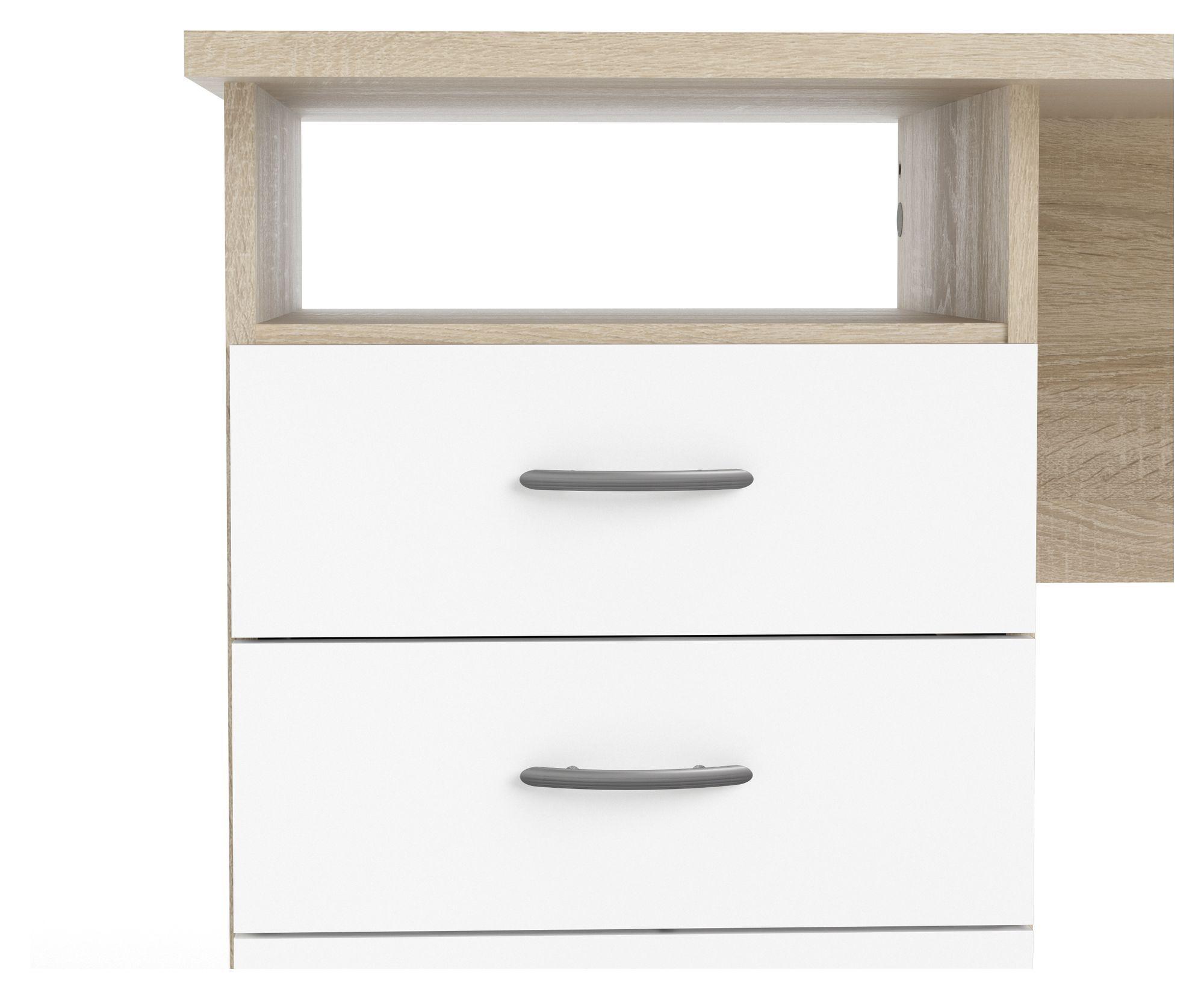 Function Skrivebord - Lys træ/Hvid - Skrivebord i egetræs-look m hvid låger