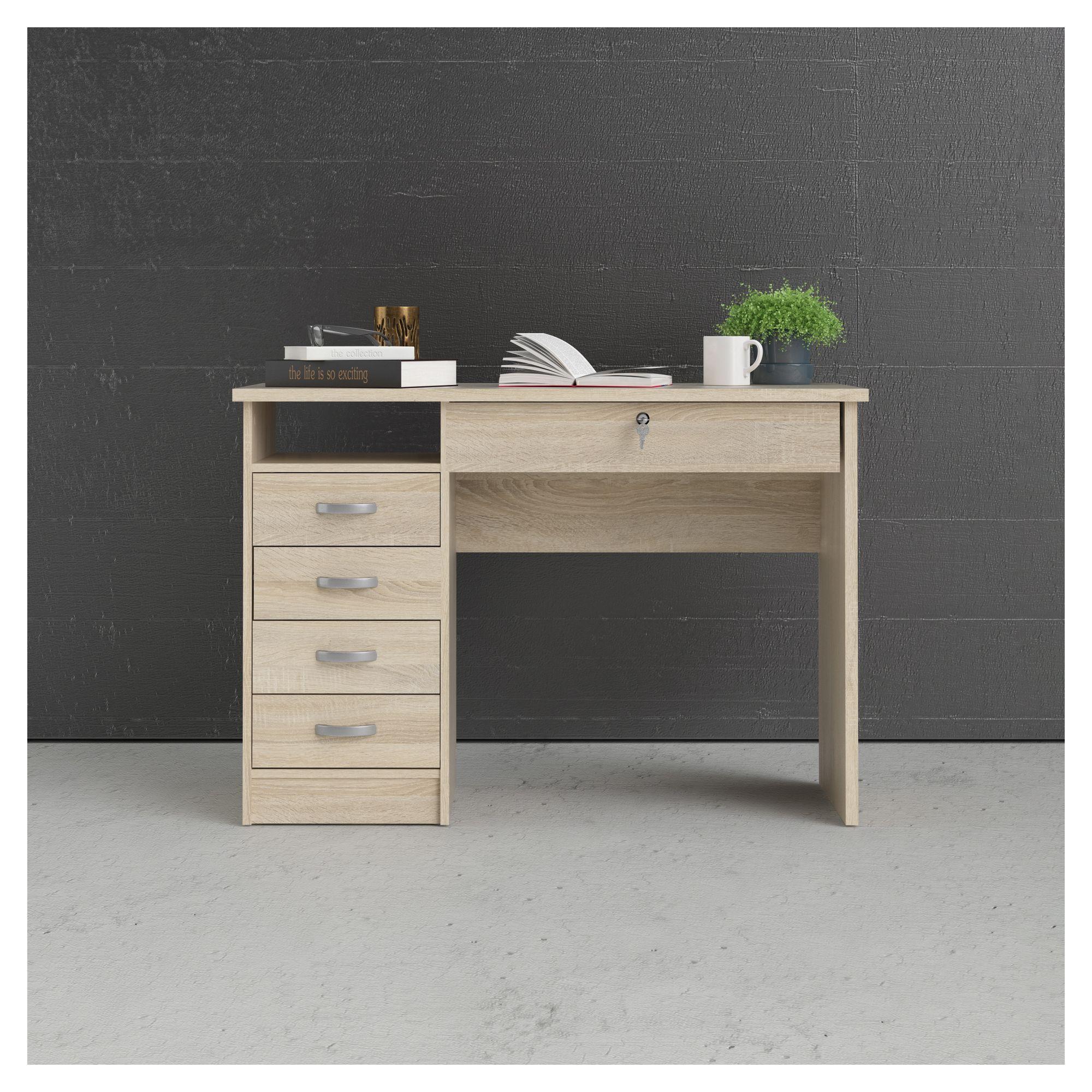 Function Skrivebord - Lystræ m/4 skuffer - Skrivebord i egetræs-look med lås