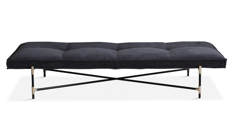 HANDVÄRK - Daybed - Grå velour, messing