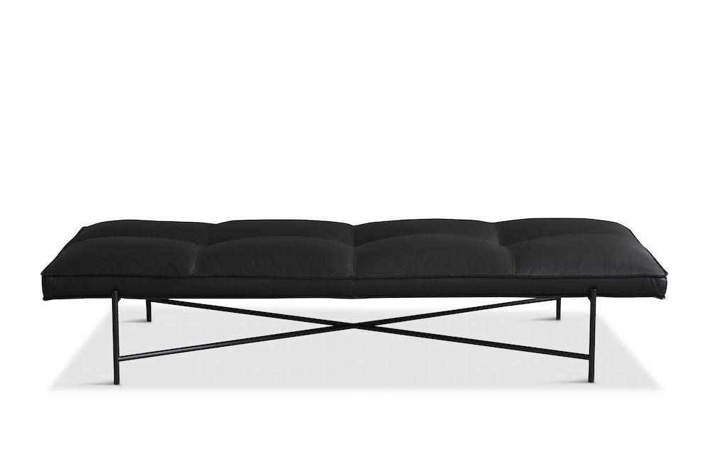 HANDVÄRK - Daybed - Sort Aniline Læder, sort stel - Sort daybed med sort stel