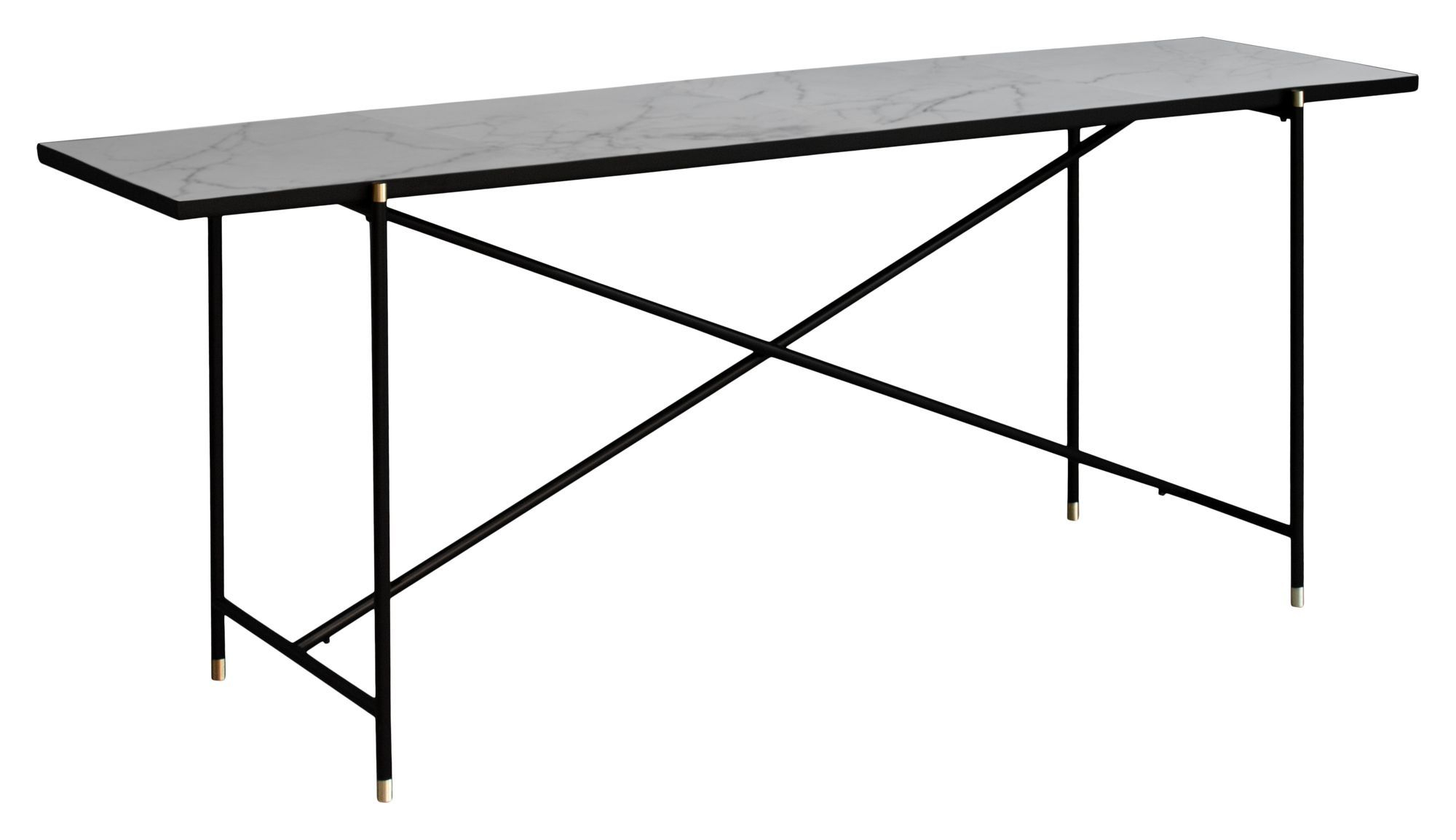 HANDVÄRK Konsolbord 184x46 - Hvid Marmor, messing - Hvidt konsolbord med messing