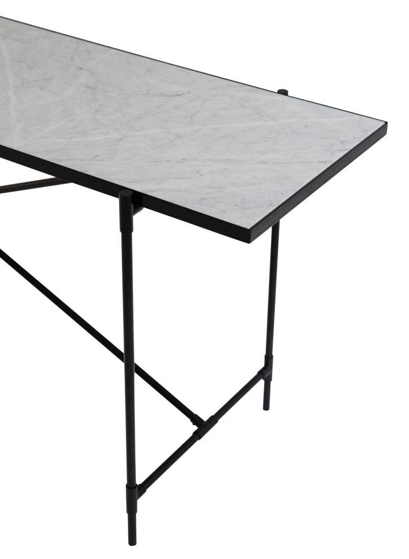 HANDVÄRK - Konsolbord 184x46 - Hvid Marmor, sort - Konsolbord med hvid marmor