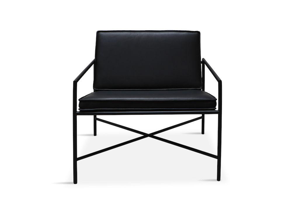 HANDVÄRK Loungestol sort Aniline læder - Design Emil Thorup