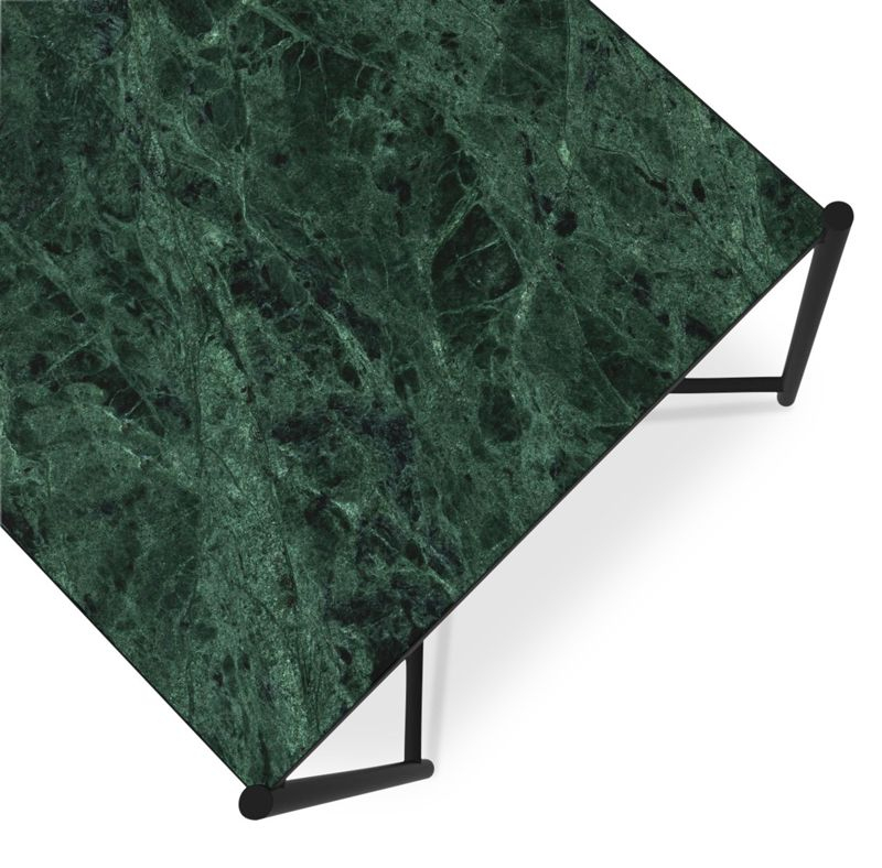 HANDVÄRK - Sidebord 48x48 - Grøn Marmor, sort stel - Grønt sidebord i marmor