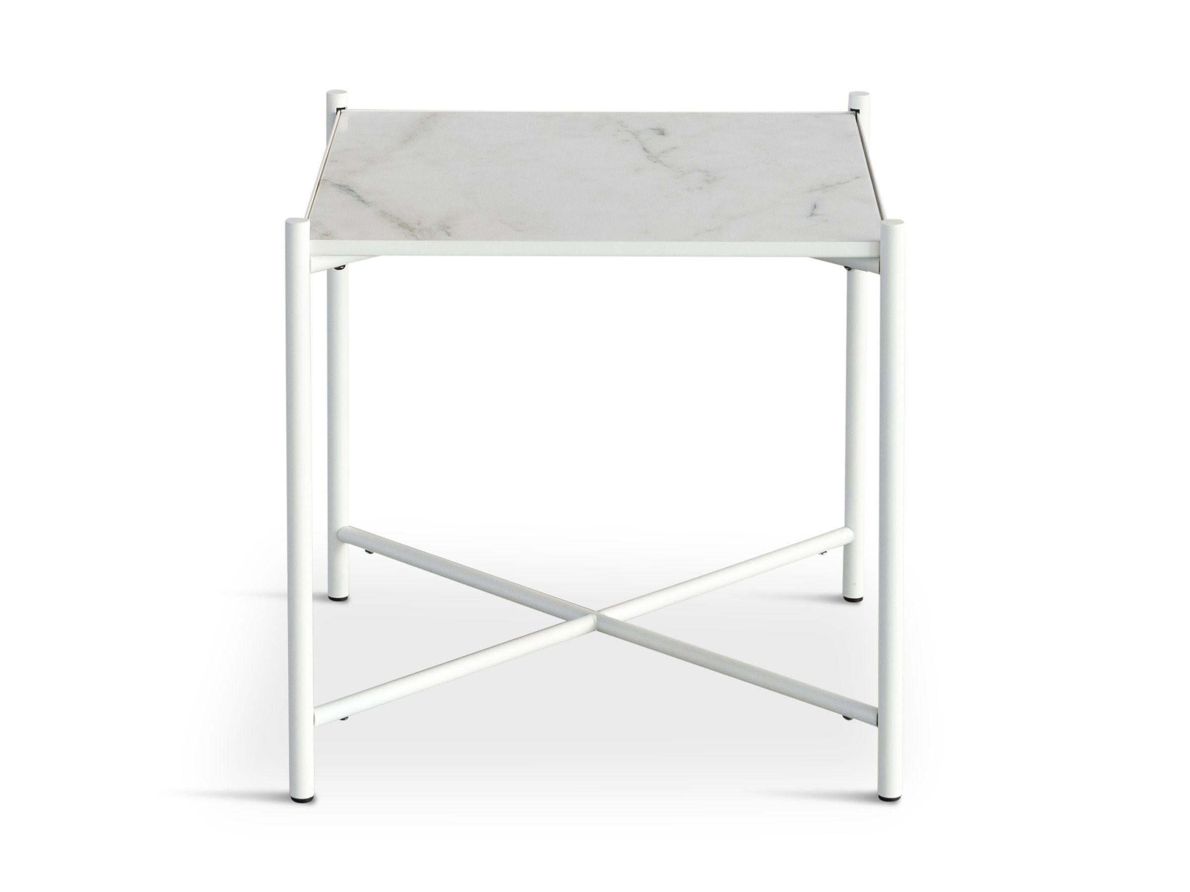HANDVÄRK - Sidebord 48x48 - Hvid Marmor, hvid stel - Hvidt sidebord med hvid marmor