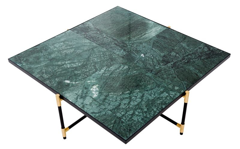 HANDVÄRK Sofabord 92x92 - Grøn Marmor, messing - Grønt sofabord med messing