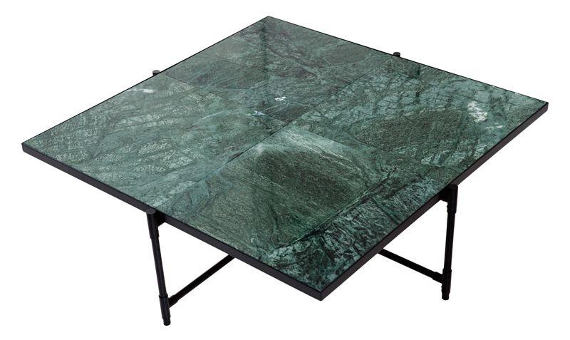HANDVÄRK - Sofabord 92x92 - Grøn Marmor, sort stel - Sofabord med grønt marmor