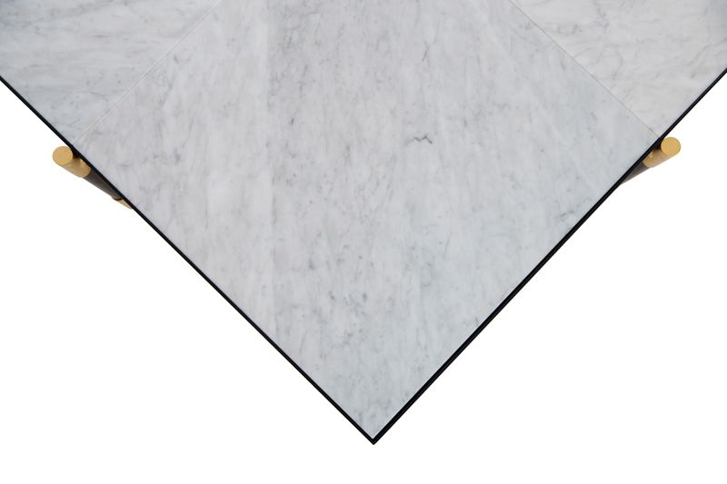 HANDVÄRK - Sofabord 92x92 - Hvid Marmor, messing - Hvidt sofabord med messing