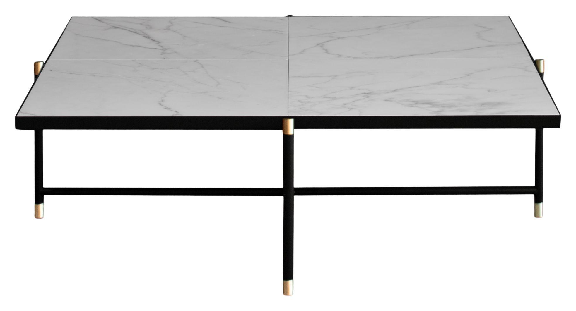 HANDVÄRK Sofabord 92x92 - Hvid Marmor, messing - Hvidt sofabord med messing