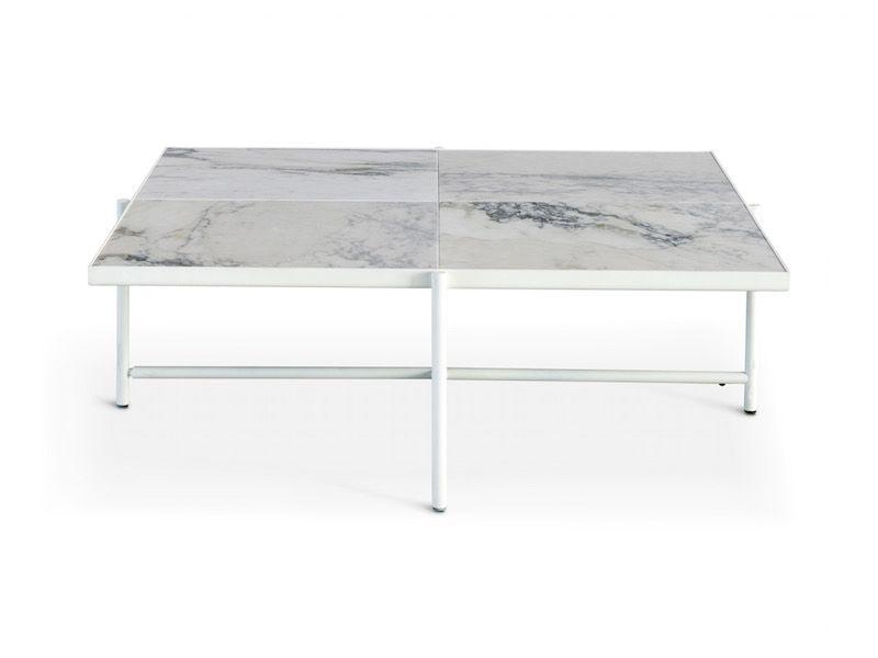 HANDVÄRK Sofabord 92x92 - Hvid Marmor - Hvidt sofabord med marmor