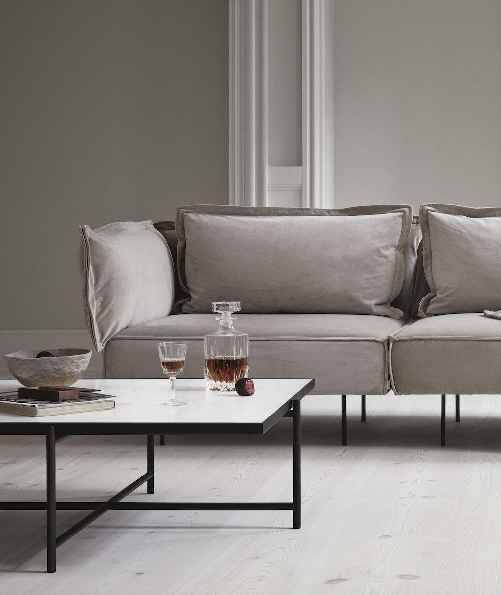 HANDVÄRK Sofabord 92x92 - Hvid Marmor, sort stel  - Sofabord med hvidt marmor