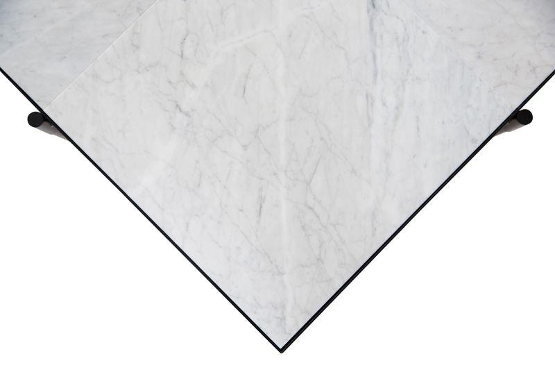 HANDVÄRK - Sofabord 92x92 - Hvid Marmor, sort stel  - Sofabord med hvidt marmor