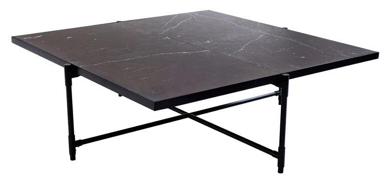 HANDVÄRK - Sofabord 92x92 - Sort Marmor, sort stel - Sofabord med sort marmor