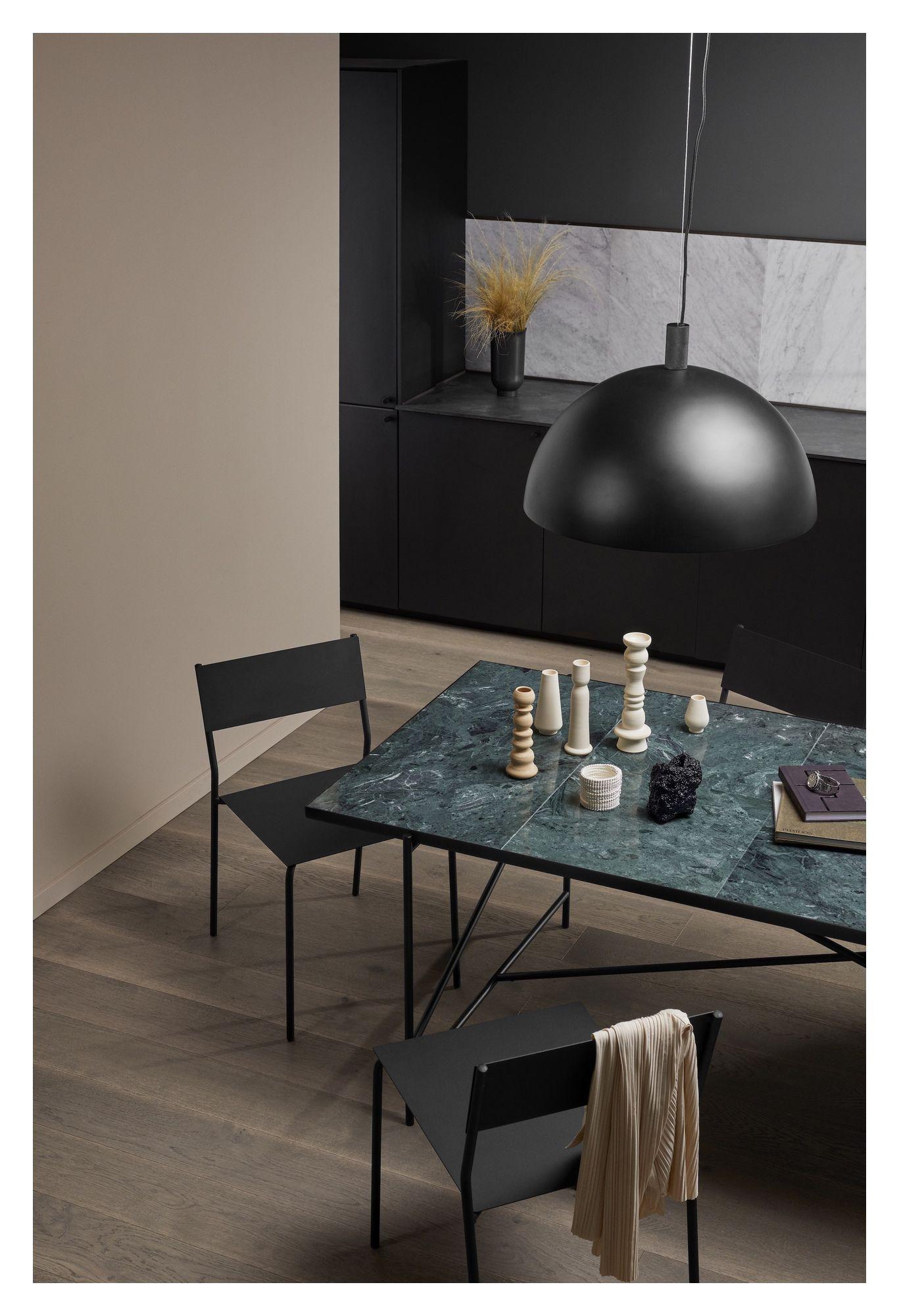 HANDVÄRK Spisebord 184x96 - Grøn Marmor, sort stel - Spisebord med grøn marmor