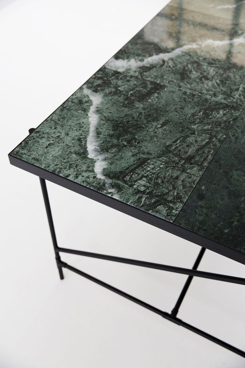 HANDVÄRK Spisebord 185x94 - Grøn Marmor, sort stel - Spisebord med grøn marmor