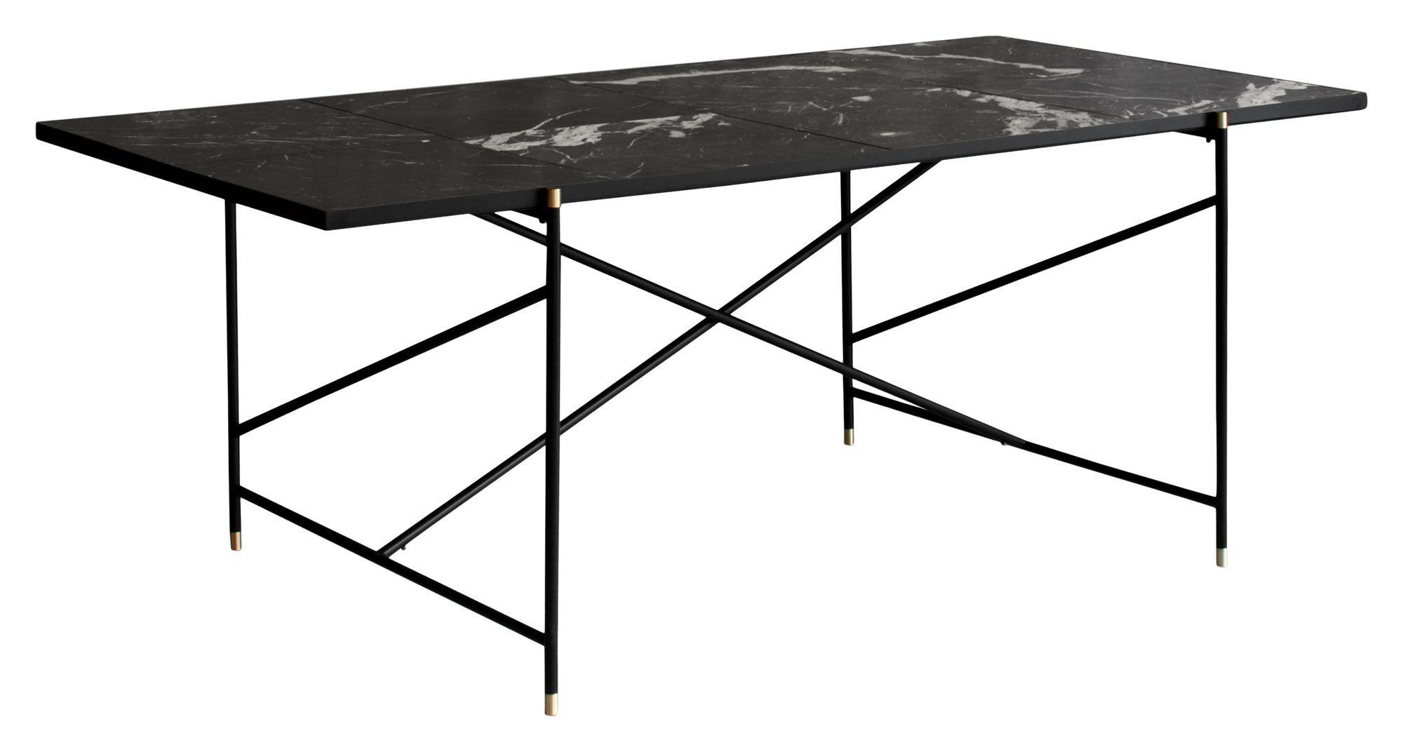HANDVÄRK Spisebord 184x96 - Sort Marmor, messing - Sort spisebord med messing