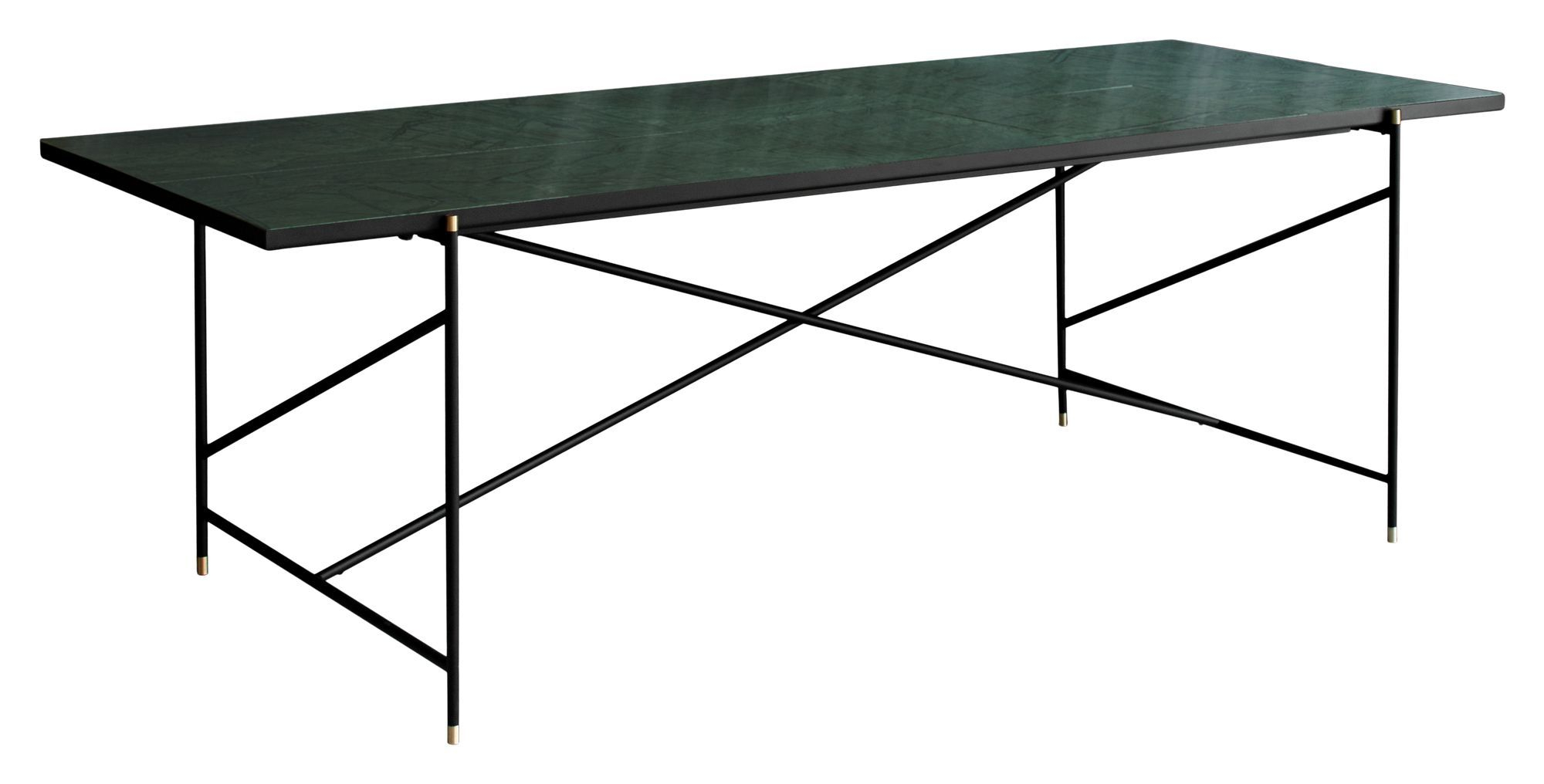HANDVÄRK Spisebord 230x96 - Grøn Marmor, messing - Grønt spisebord med messing