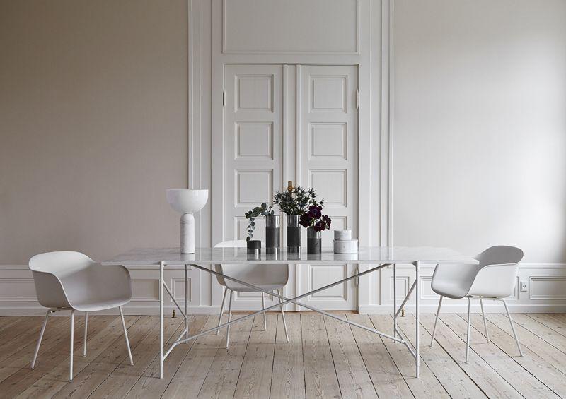 HANDVÄRK - Spisebord 230x94 - Hvid Marmor - Spisebord i hvidt med marmor