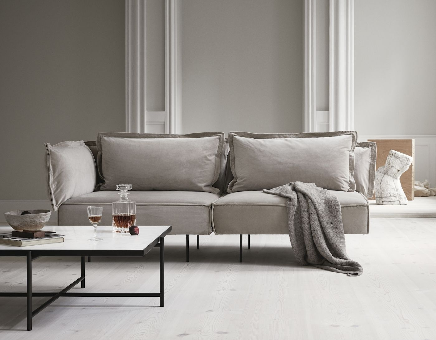 HANDVÄRK The Modular Sofa Hjørne - Sand velour