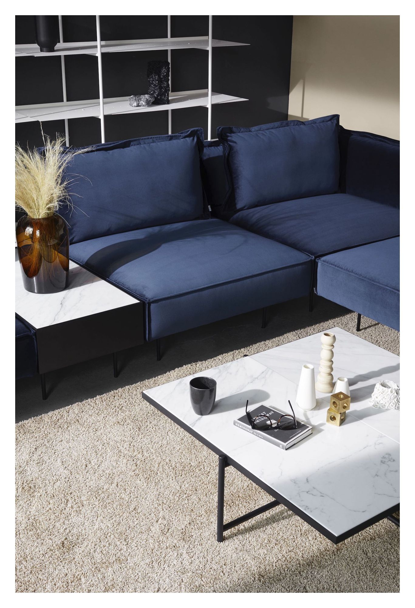 HANDVÄRK The Modular sofa midter - Blå Velour - Midter