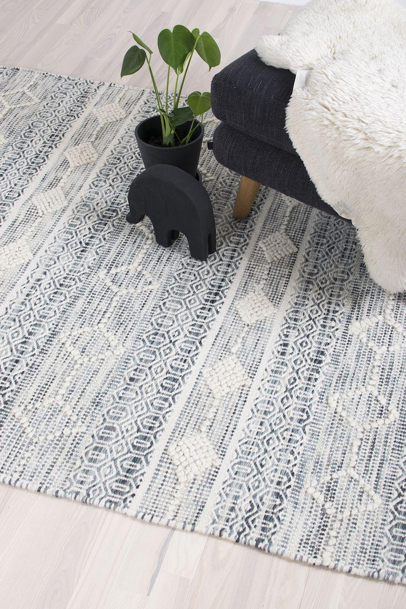 Borneo Håndvævet tæppe - Blå og hvid - 160x230