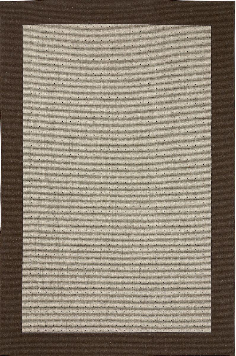 Casablanca fladvævet tæppe m. brun kant - 240x340