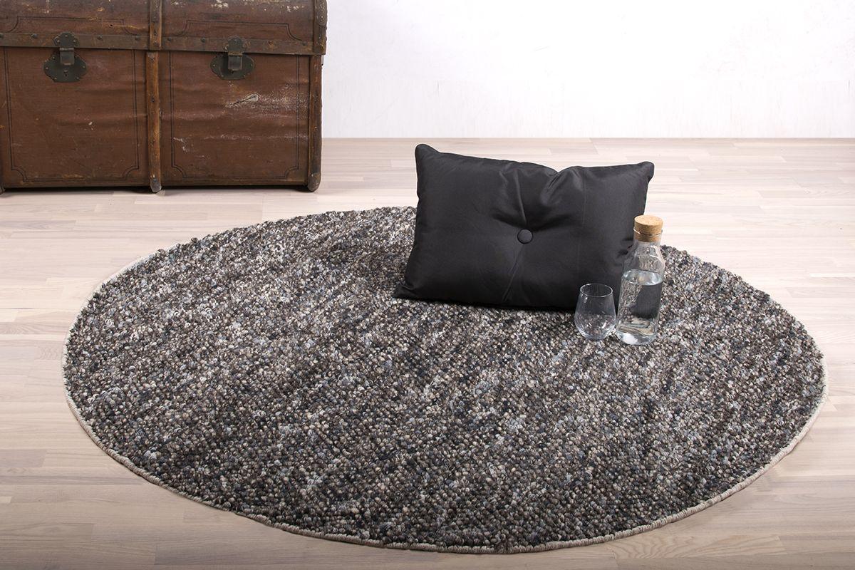 Oxford Håndvævet tæppe - Mørk Grå Mix - Ø160