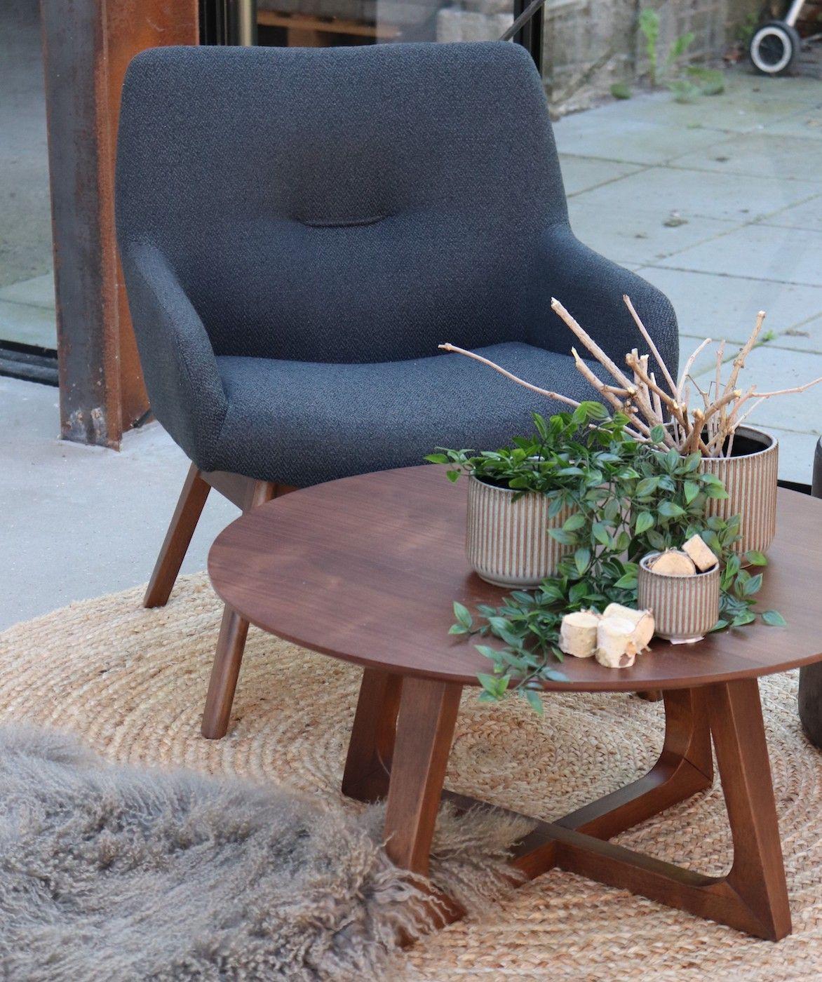 Hellerup Sofabord i valnød finer Ø 75 cm