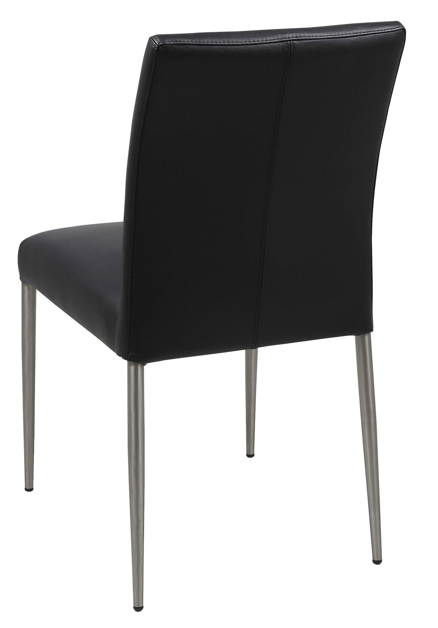 Hjo Spisebordsstol - Sort læder - Ben i børstet stål