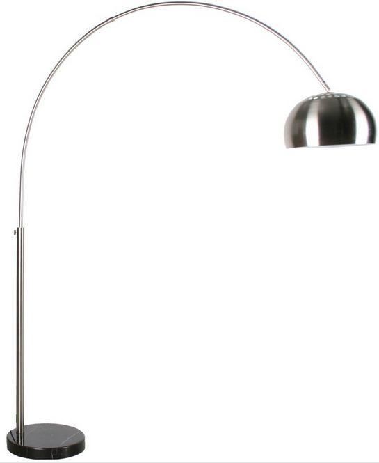 homii Gulvlampe - Metal - Gulvlampe i børstet metal m. fod i marmor