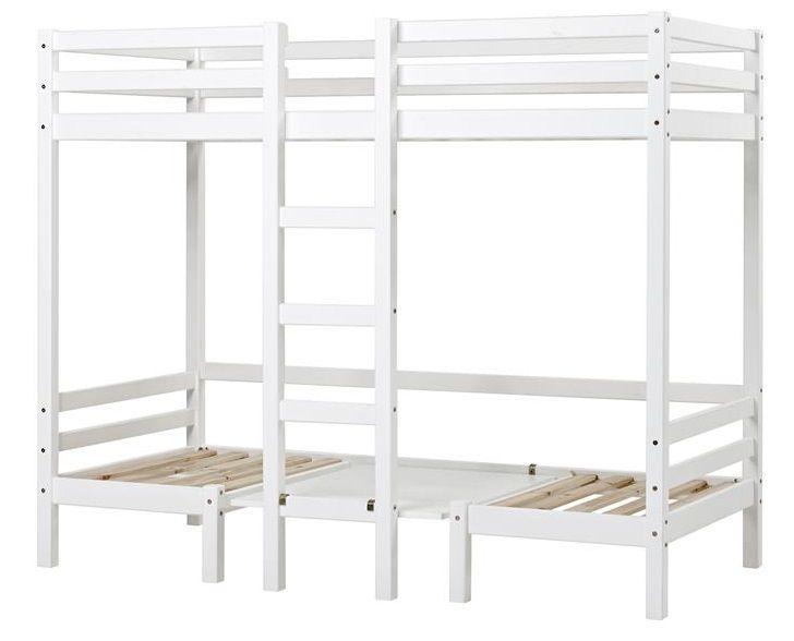 Hoppekids BASIC JUMBO Etageseng - 90x200 cm - Høyseng med stige - Hvit