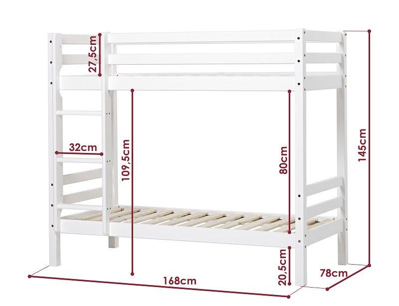 HoppeKids BASIC Højseng junior - 70x160 cm - Junior Højseng - Hvid
