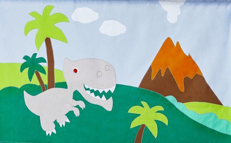 Hoppekids - Dinosaur Forhæng 160x70 - Grøn/blå - Dinosaur forhæng til mellemhøj seng 160x170