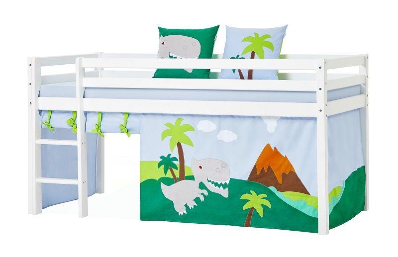 Hoppekids - Dinosaur Forhæng 200x90 - Grøn/blå - Dinosaur forhæng til halvhøj seng 200x90