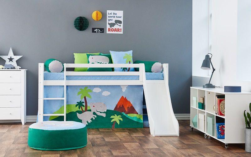 Hoppekids - Dinosaur Sækkestol Ø75 - Grøn og blå - Sækkestol med dinosaur